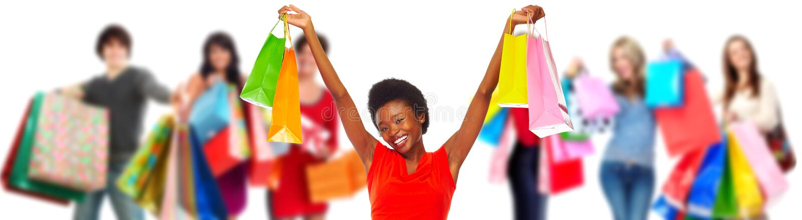 Group of happy shopping customers. royalty free stock images