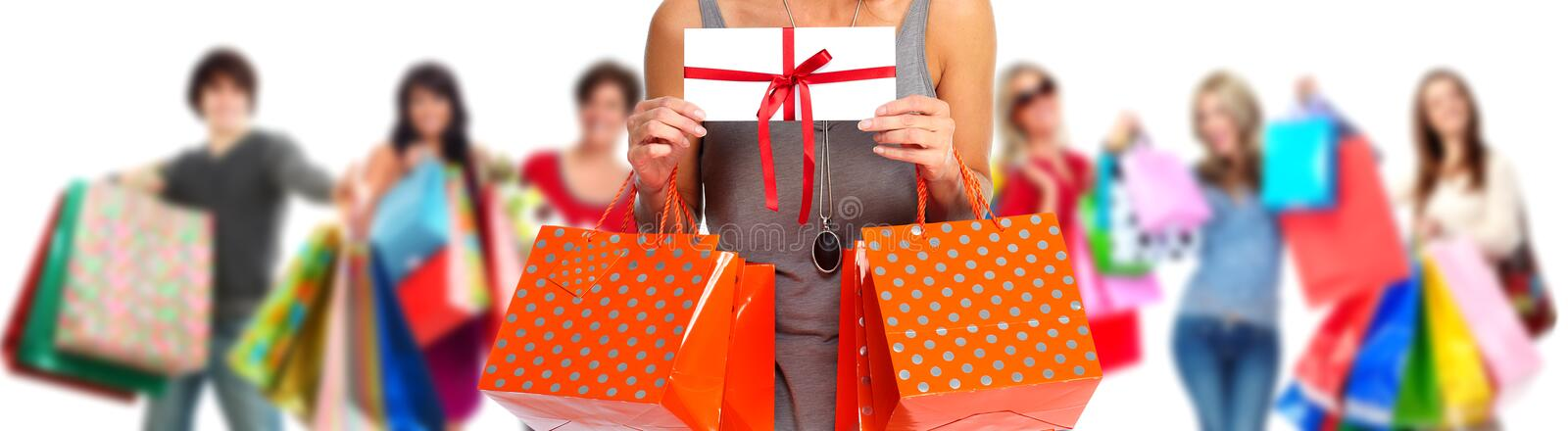 Group of happy shopping customers. royalty free stock image