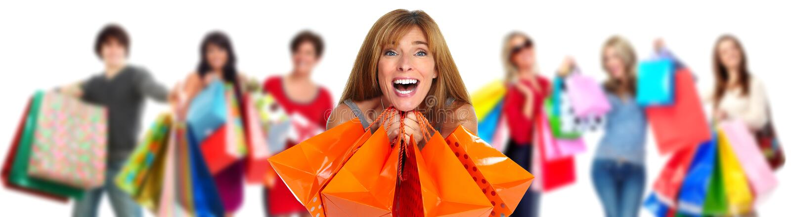 Group of happy shopping customers. stock photo