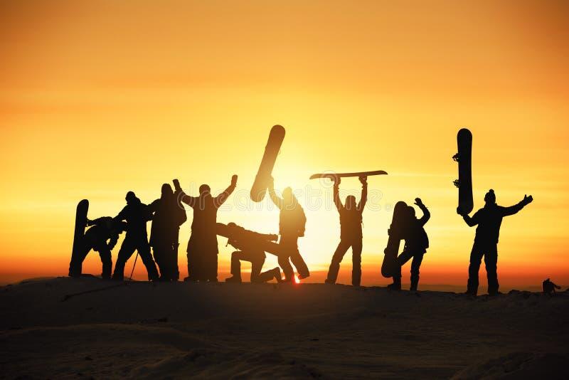 Group happy ski snowboard skiing snowboarding concept royalty free stock photos
