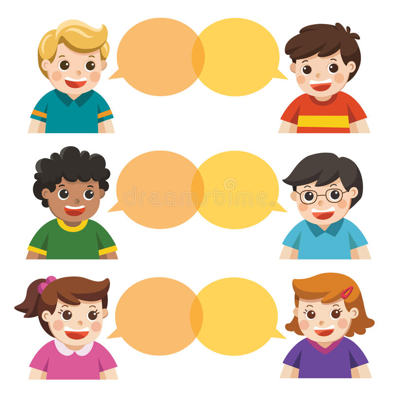 Group of happy smiling kids speaking together. stock illustration