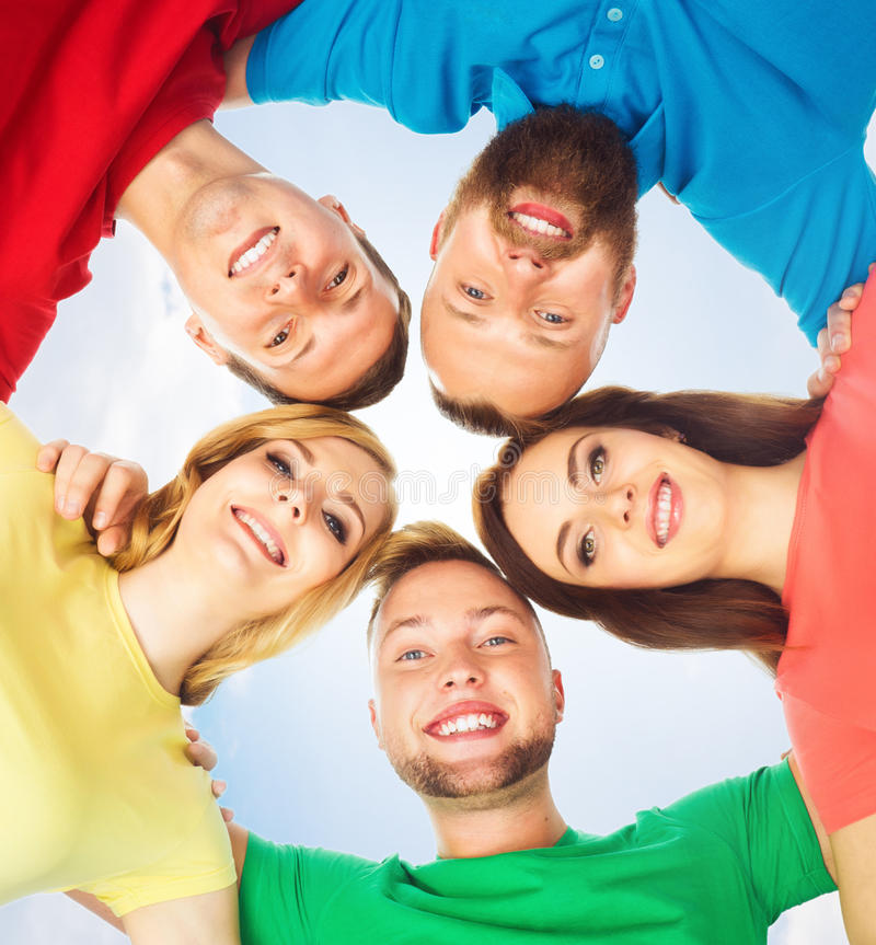 Group of smiling students standing together. School, college, university: concept. royalty free stock photos