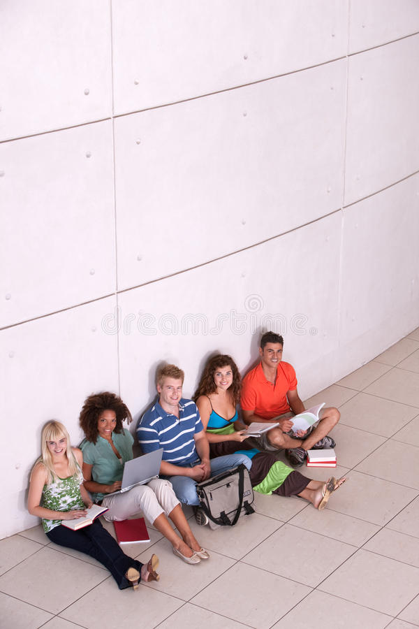 Download Group Of Happy Students Studying Stock Image - Image of hispanic, mobility: 9389837