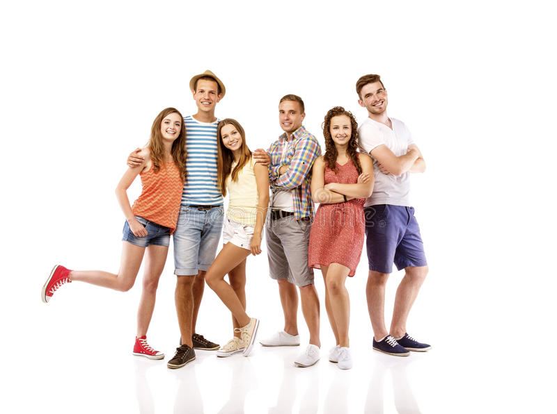 Group of happy students royalty free stock photo