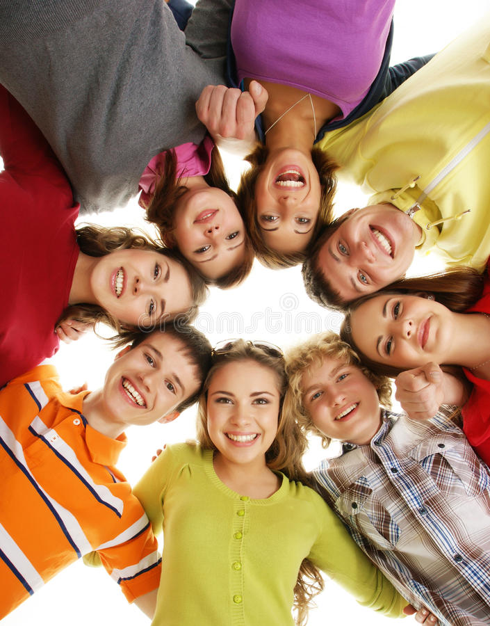 A group of happy teenagers hanging out together stock for Hanging groups of pictures