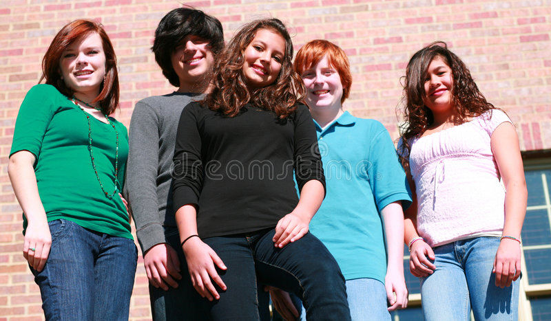 Download Group of happy teens stock image. Image of copy, beauty - 7235301