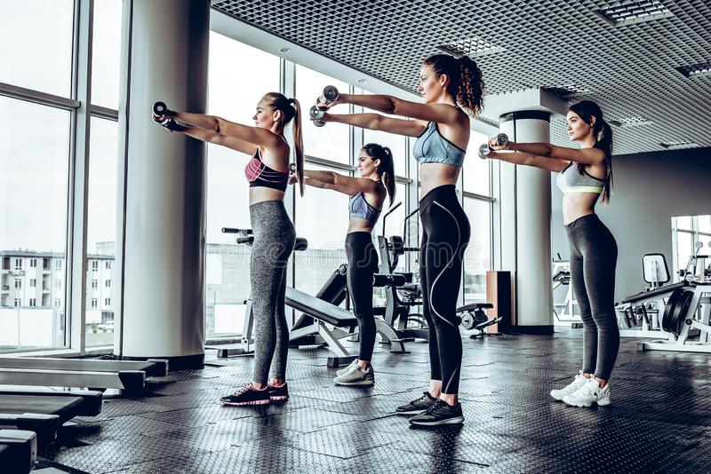 Group of happy women with dumbbells flexing muscles in gym. Fitness, sport, training and lifestyle concept stock image