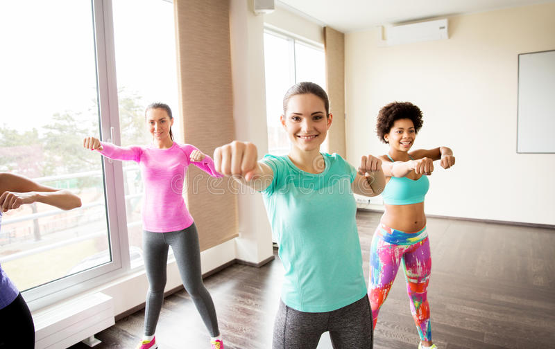 Group of happy women working out in gym. Fitness, sport, training, people and martial arts concept - group of happy women working out fighting stance in gym stock image