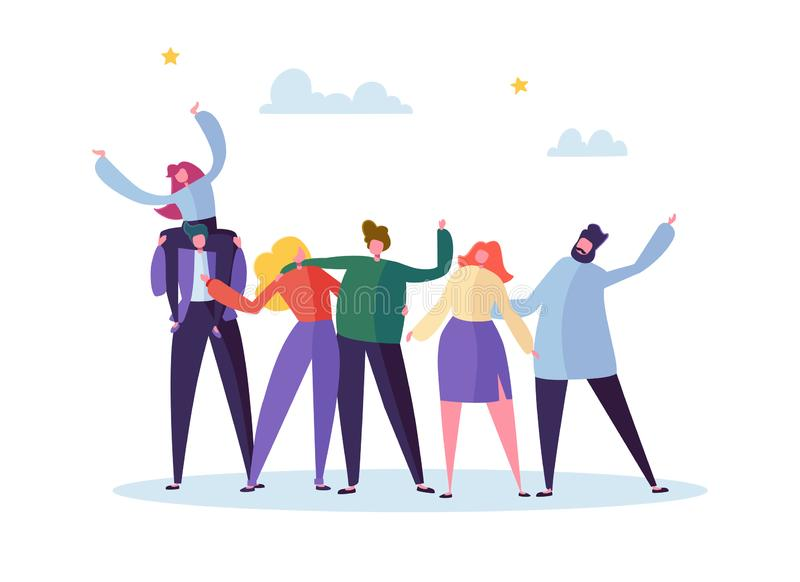 Group of Happy Young Male and Female Character Embracing Each Other. People Celebrate Important Teamwork Event. Emotional Joyful Friendship Concept. Flat stock illustration