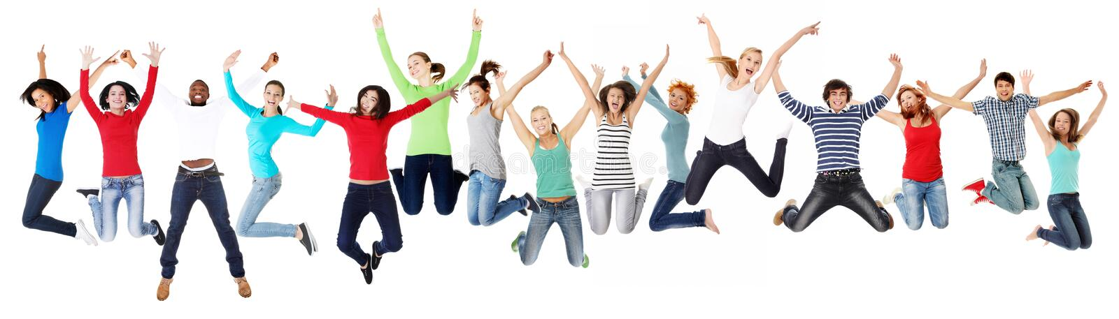 Group of happy young people jumping royalty free stock photo