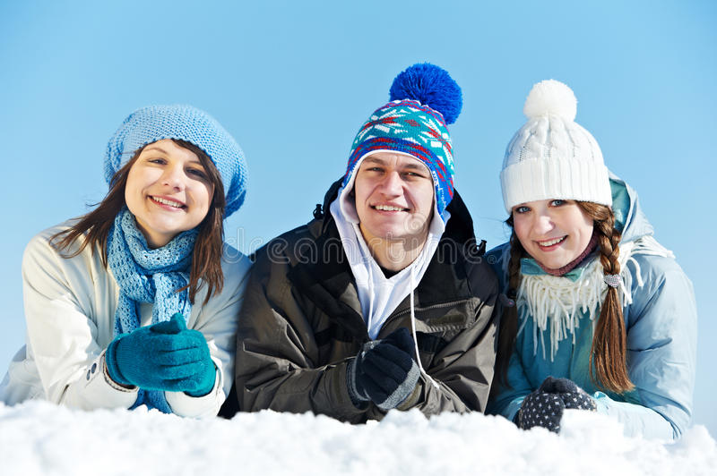 Download Group Of Happy Young People In Winter Stock Photo - Image: 28529318