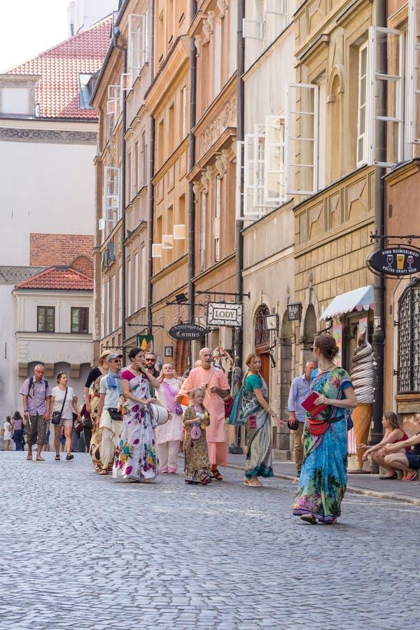 A group of Hare Krishnas in Krakov.  : Krakow, Poland - August 28, 2019.  royalty free stock photography