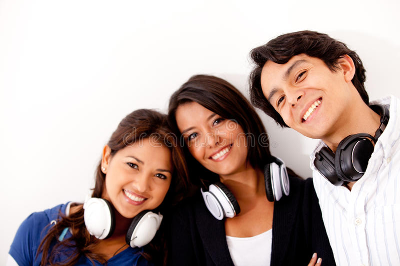 Group with headphones