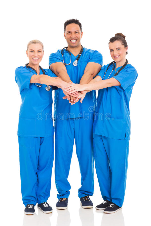 Group healthcare professionals. Group of healthcare professionals isolated on white royalty free stock photos