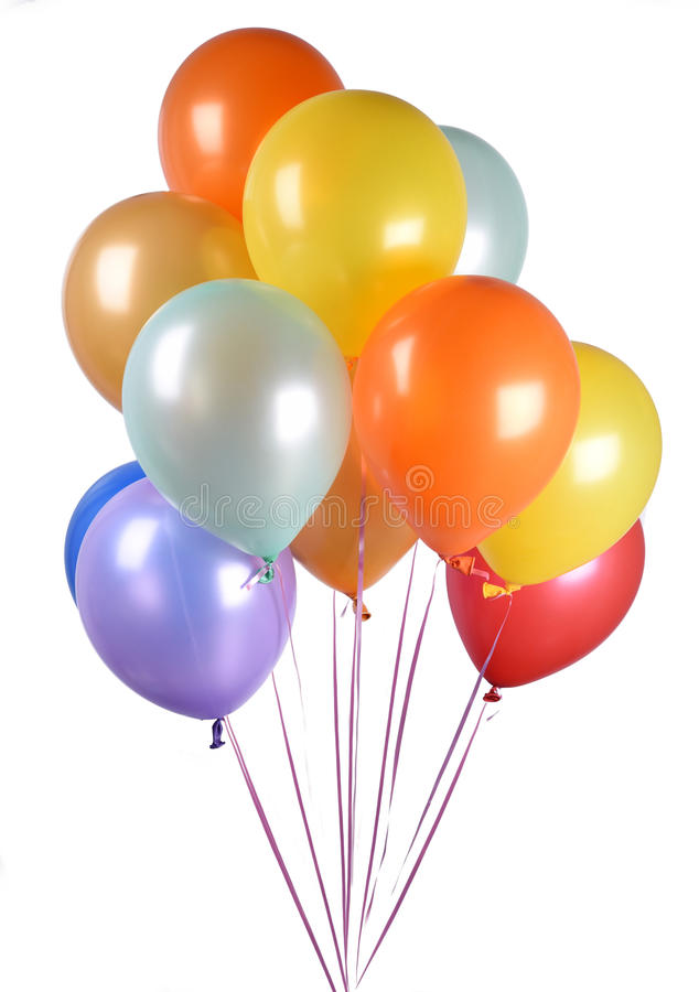 Group of helium filled balloons. Helium filled party balloons isolated on white background stock photos