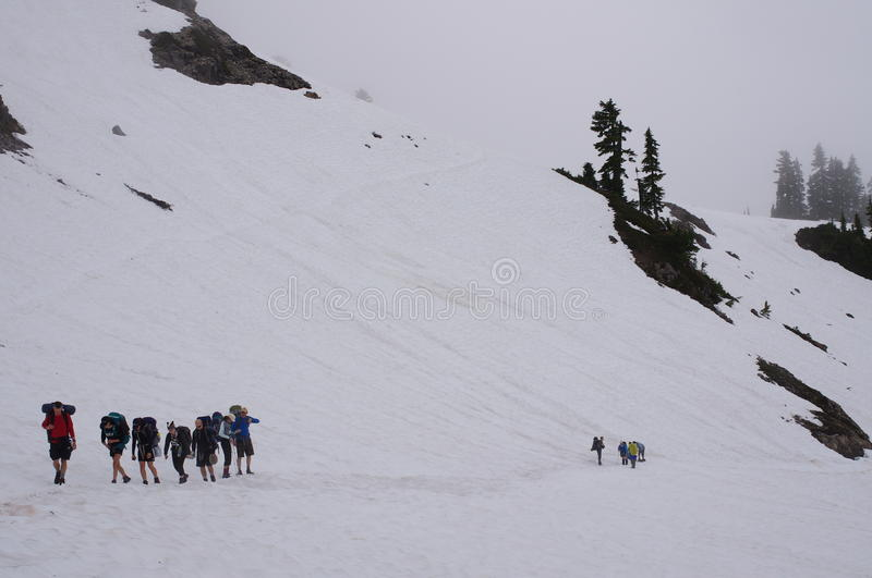 Group of hikers royalty free stock photo