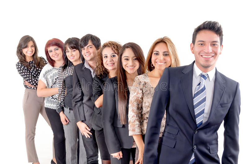 Group of hispanic business people. Smiling stock image