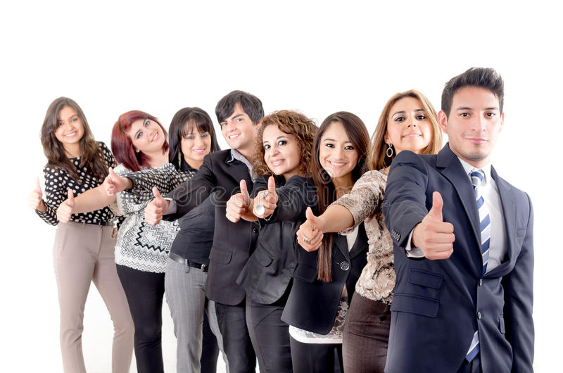 Group of hispanic business people with thumbs up royalty free stock image