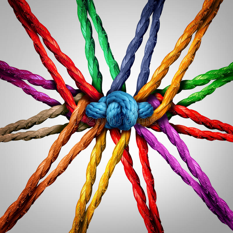 Group Holding Together. As different ropes connected and tied and linked together in the center by a knot as a strong unbreakable chain and community trust and vector illustration