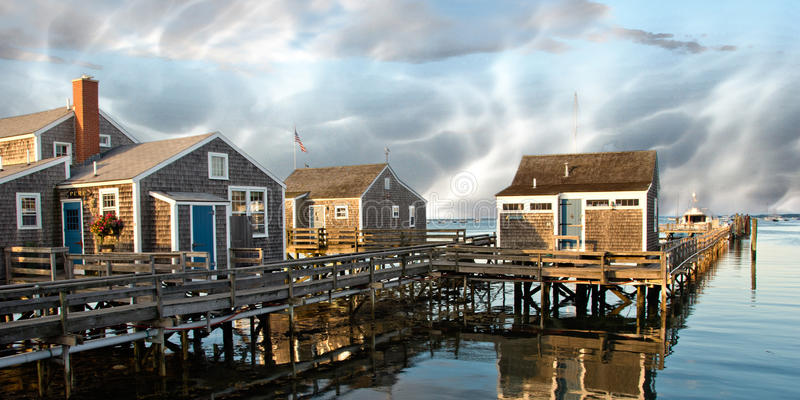 Group of Homes over the Water in Nantucket, U.S.A. stock photo