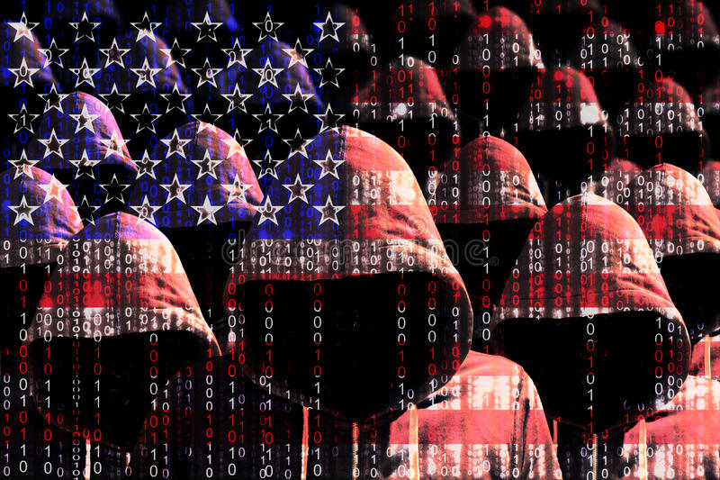Group of hooded hackers shining through a digital american flag. Cybersecurity concept stock photography