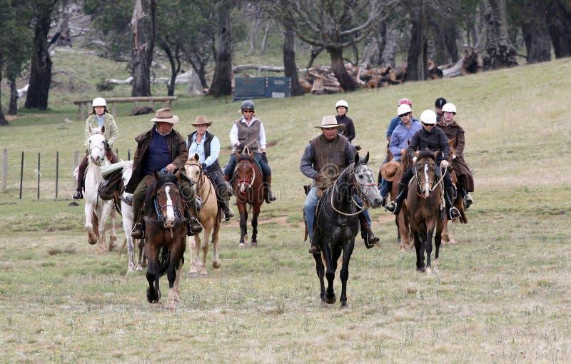Group of horseriders. A group of horseriders in the Australian outback stock image