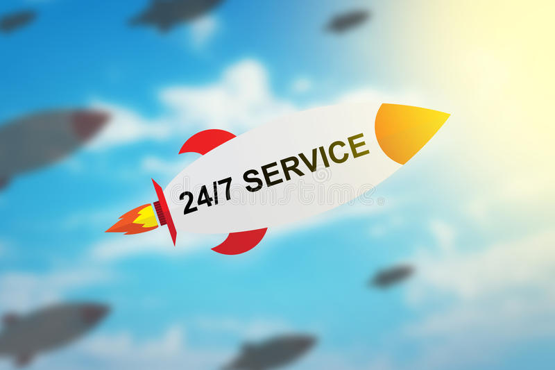 group of 24 hours a day, 7 days a week service flat design rocket stock photo