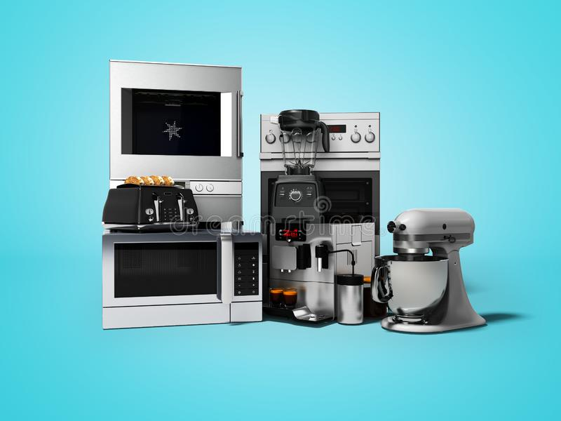 Group of household appliances for kitchen toaster coffee maker microwave food processor blender 3d render on blue background with royalty free illustration