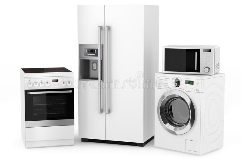 Group of household appliances royalty free illustration