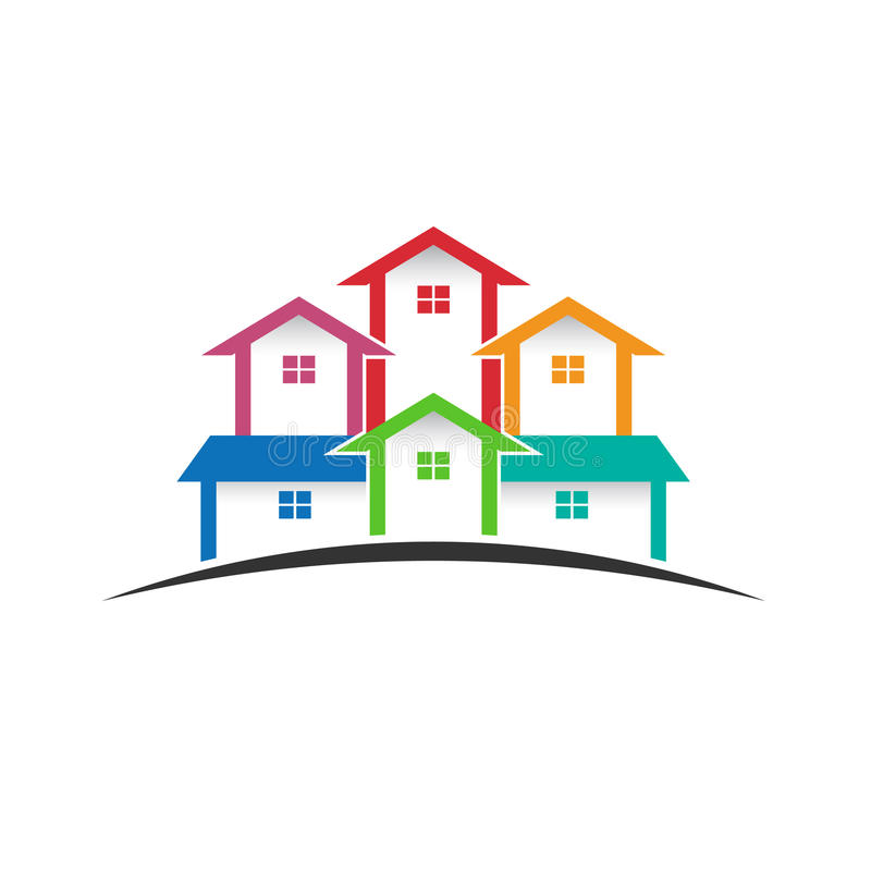 Group Of Houses Logo In Horizon Stock Vector