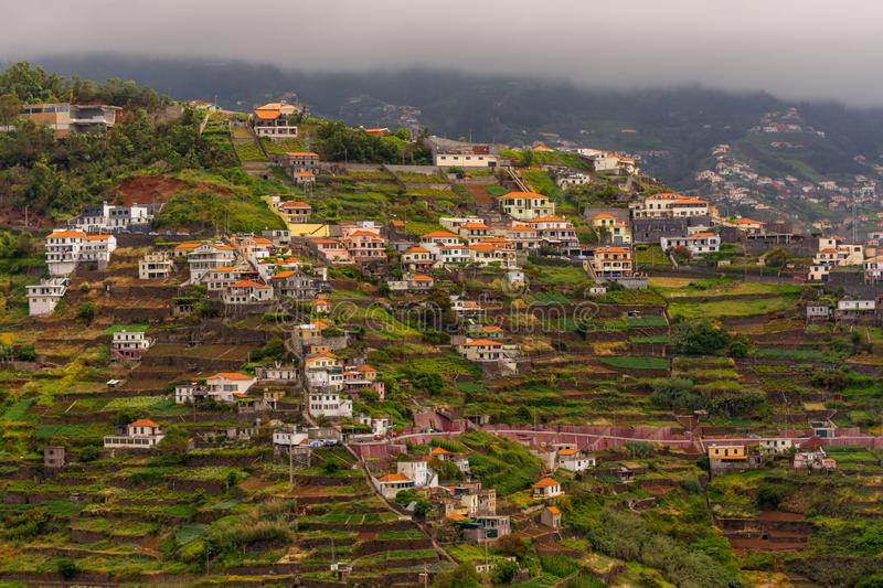 Group of houses on terraced terrain in Madeira, Portugal stock photos
