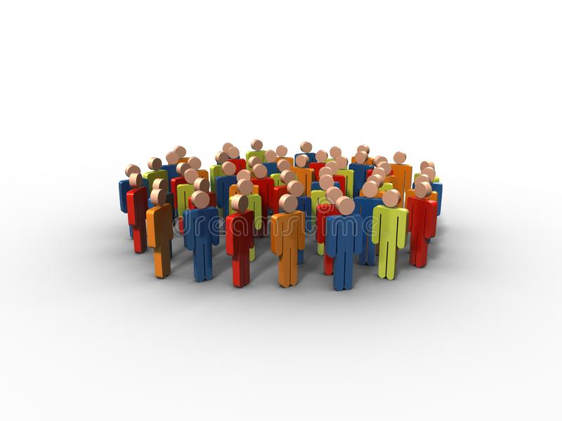 Group of human figures or stylized people. Colorfull Group of stylized human figures or people standing together in a groupn 3D rendering royalty free illustration