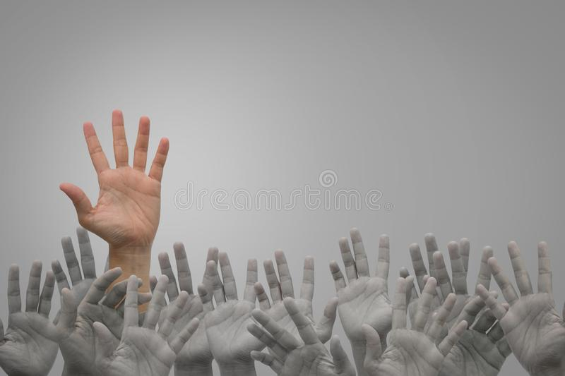 Group of human hands raised high up on grey stock photography