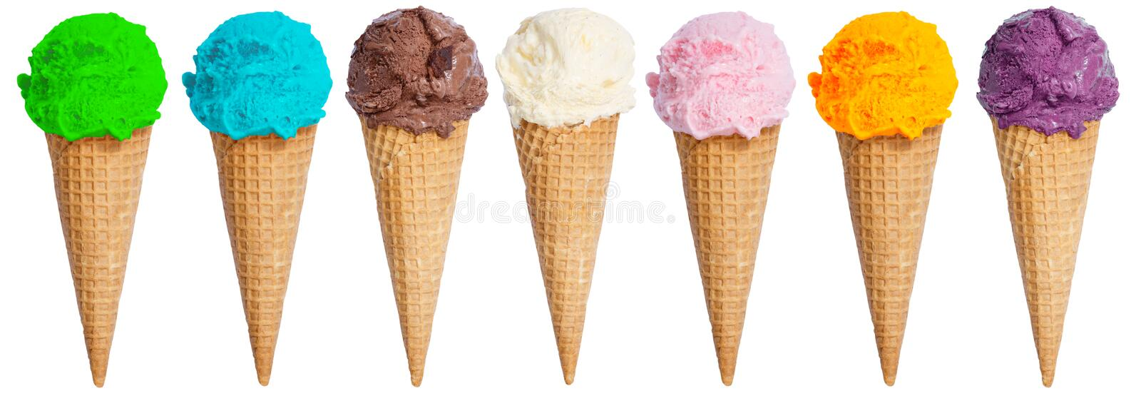Group of ice cream scoop sundae cone in a row icecream summer is. Olated on a white background royalty free stock images