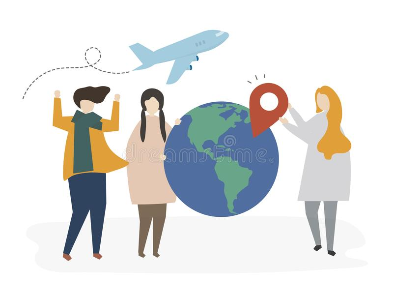 Group of illustrated friends planning for a trip royalty free illustration