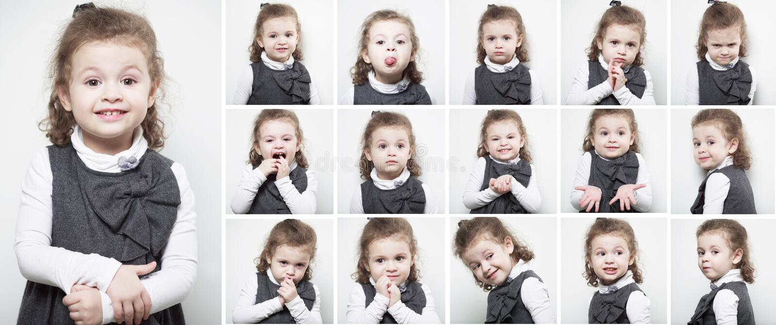 A group of images with the emotions of a little girl. Vertical portraits stock photography