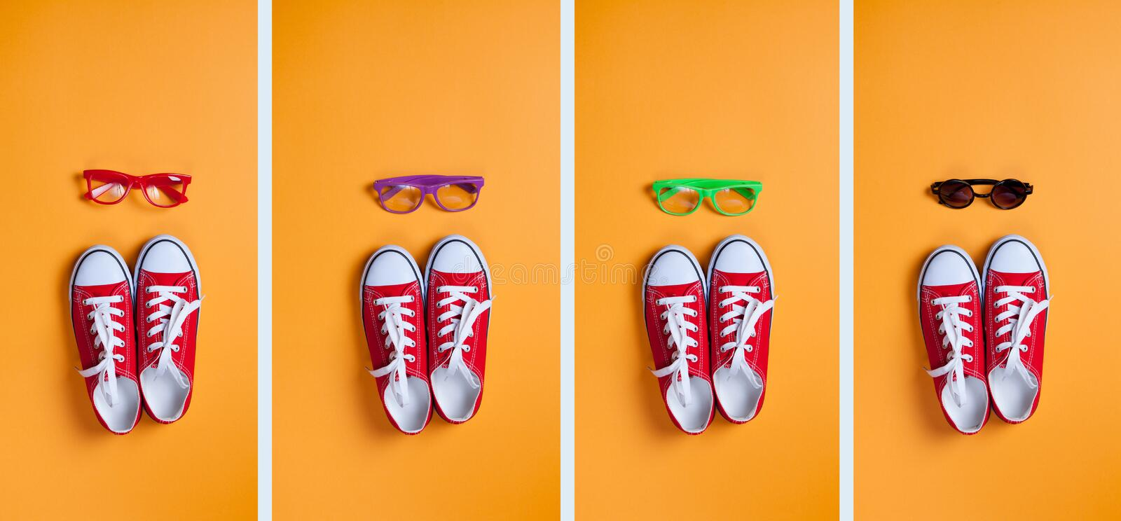 Group of images of red gumshoes and glasses. On orange background royalty free stock photography
