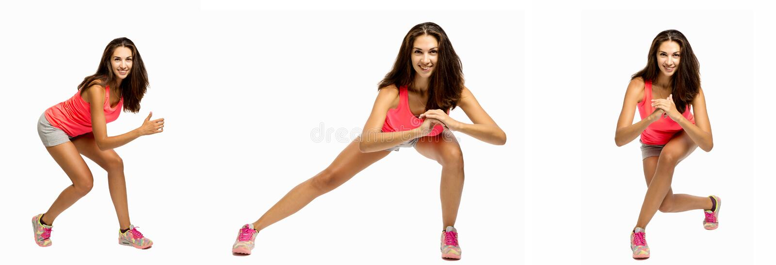 Group of images with a young beautiful woman doing exercise. S, vertical emotinal portraits, collage stock photography