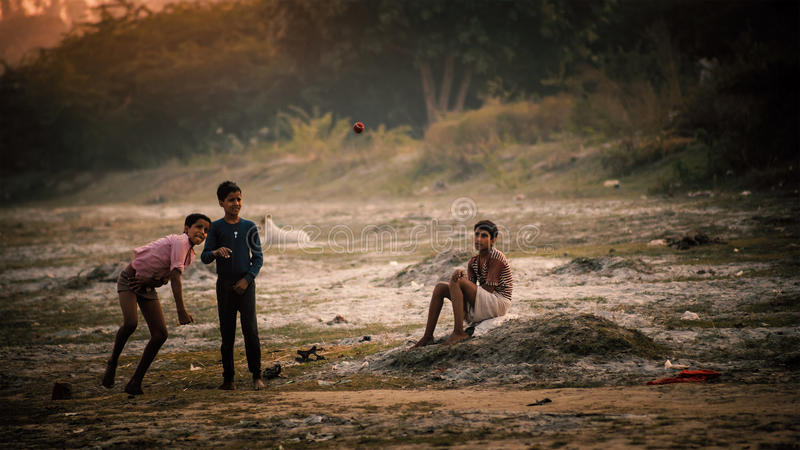 Group of indian boys playing. At Bithoor Temple, near The Bank of Ganga river, Kanpur, India, 23 November 2014 royalty free stock photo