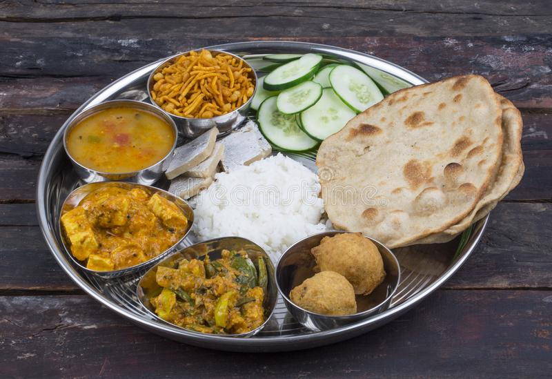 Indian food Thali. Group of Indian Food or Indian Thali, south indian thali, south indian compleat meal, south indian complete lunch royalty free stock photo