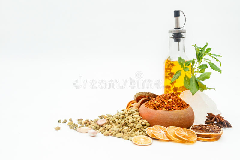 Group of indian spices and herbs on white background, normal vie stock photo