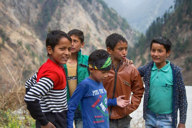 Group of Indian teenagers from the mountain village royalty free stock photos