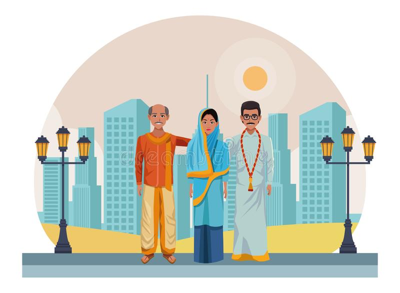 Group of indian people avatar stock illustration