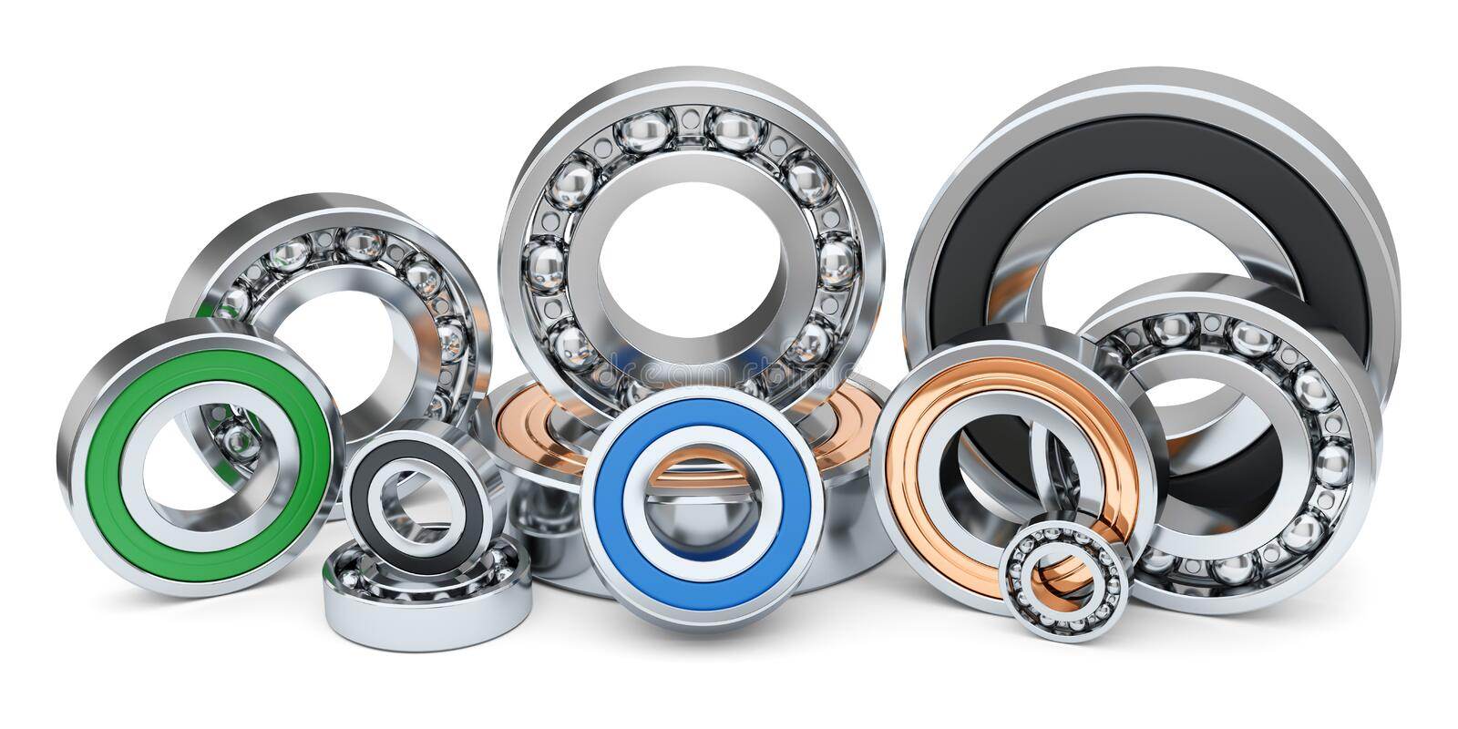 Group of industrial ball bearings in row. royalty free illustration
