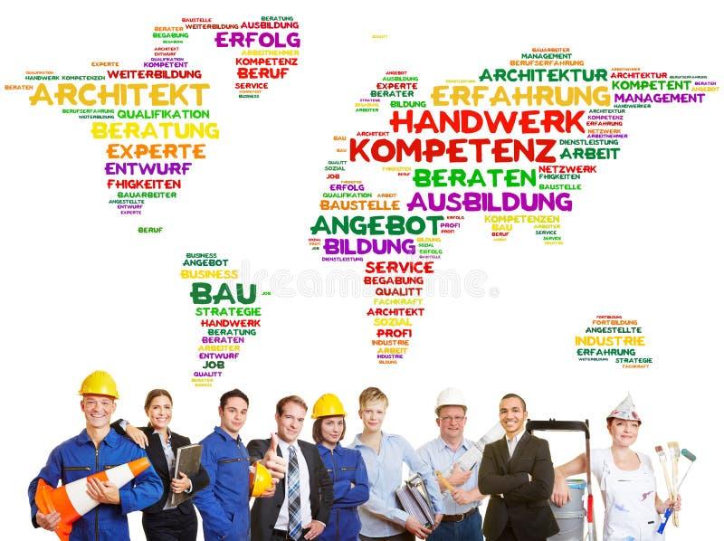 International craftsmanship worldwide as a team stock photography