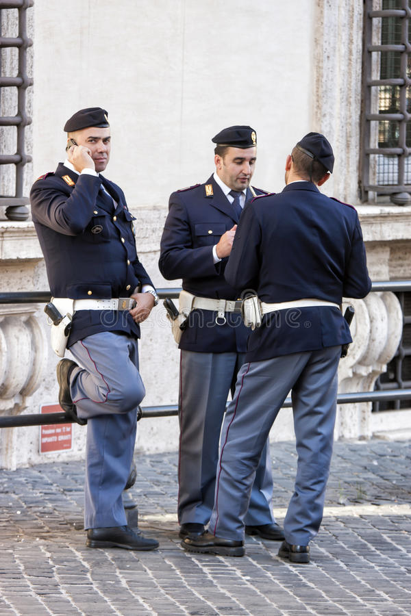 Group of italian policemen - Parliament (Rome - Italy) stock image
