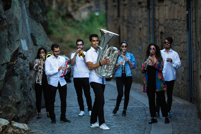 Group of Jazz musicians with wind instruments stock photo
