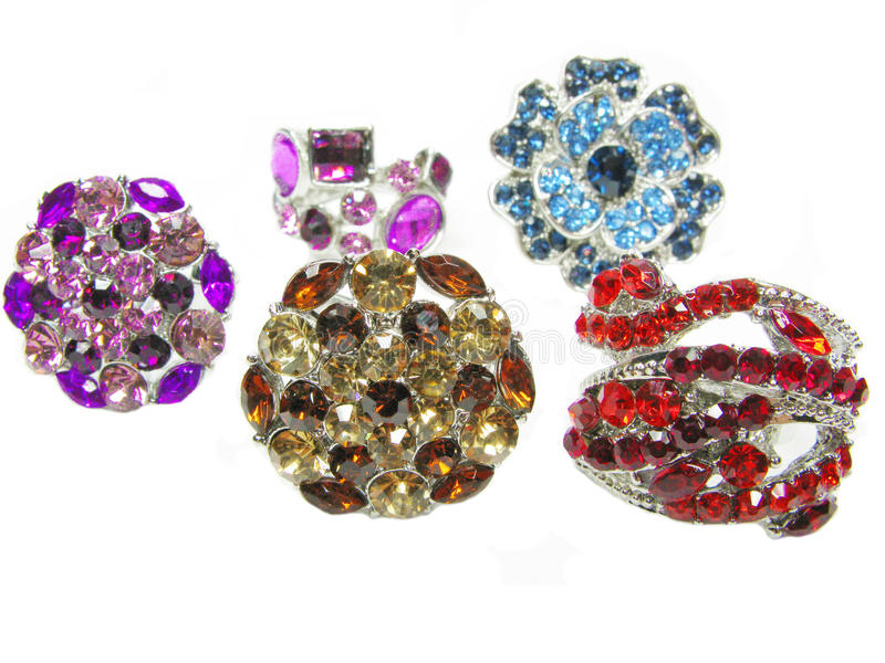 Group Of Jewelry Ring With Bright Crystals Royalty Free Stock Images