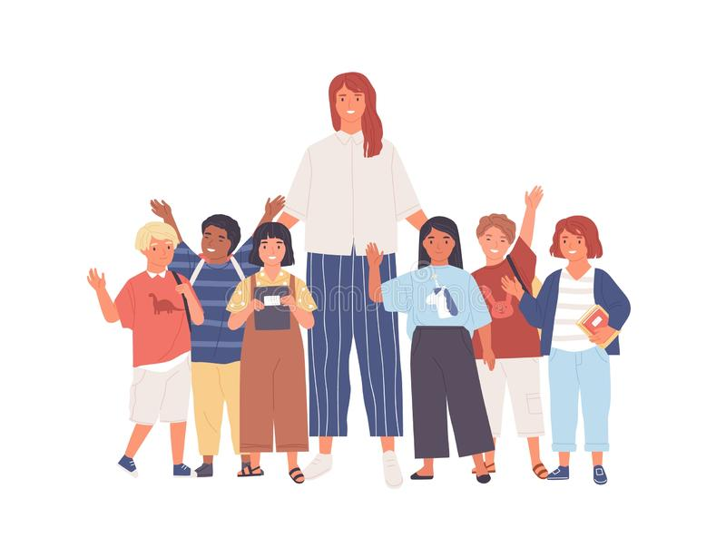 Group of joyful schoolchildren or pupils and female teacher standing together. Young woman and cute happy kids isolated stock illustration