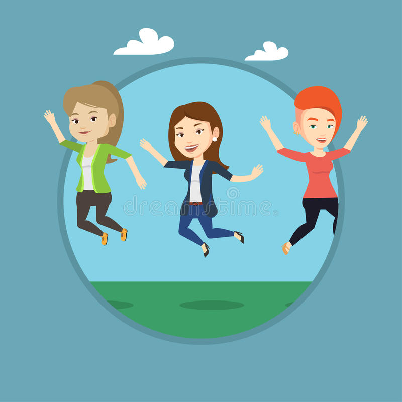 Group of joyful young friends jumping. vector illustration